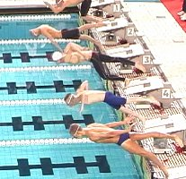 Erik Vendt, second from top, swam the greatest 1500 Free in American history, breaking 15 minutes (14:59.11)