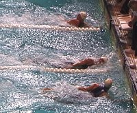 Also a close race in 200 Free Semi-Final #2 between Josh Davis (top), Jamie Rouch, and Scott Goldblatt.