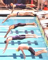 The start of the 200 IM Final. Wilkens, (bottom), and Dolan, jsut above him, were the top two finishers.