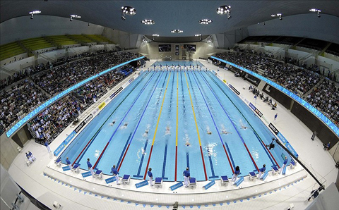 inside the pool is nearly identical to that of the water cube the starting blocks feature lights that signify the top three finishers in each heat