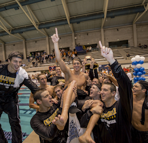 2012MNCAA California celebrates their victory at the 2012 NCAA men's swimming and diving championships.