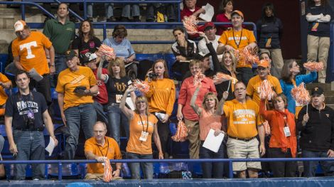 2013wncaaTennessee fans cheer their swimmers.