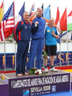 2008 Men's 25K Open Water Worlds Podium. Maarten van der Weijden at center.