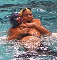 Kaitlin Sandeno and Maddy Crippen hug after qualifying for the 2000 US Olympic Team in the 400 IM.
