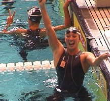 Amy Van Dyken is estatic with qualifying in the 50 Free by finishing second in 24.99. Dara Torres, behind her won the event in a new Olympic Trials record 24.90