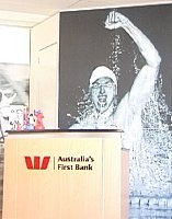 Ian Thorpe on the wall of a bank.
