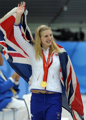 Rebecca Adlington after winning the women's 800 free at the Beijing Olympics
