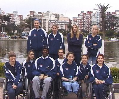 USA Disabled athletes at the International meet in Mar del Plata, Argentina Back Row (L to R) Kendra Berner, Jennifer Butcher, Katy Chandler, & Mikhaila Rutherford. Front Row Jennifer Johnson, Brandi van Anne, Curtis Lovejoy, Travis Mohr, Melanie Benn, Angel Langner, & Stephanie Brooks