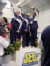 Auburn Woment 200 Medley Relay - Awards Stand - 2003 SEC Championships