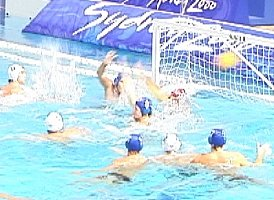 Russia puts the ball by USA goalie Dan Hackett.