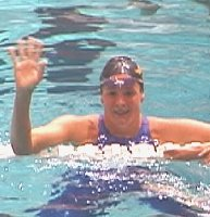 Lindsay Benkos waves after winning the 200 Free.