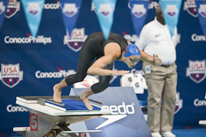 Kasey Carlson places first in the prelims of the 100 Breaststroke at the 2009 USA Swimming ationals/World Team Trials.