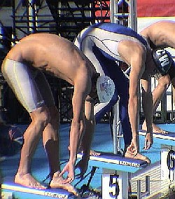 Michael Phelps and Tom Malchow jsut before the start of the 200 Fly final.
