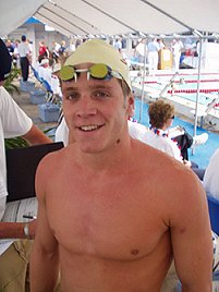 Trojan Swim Clubs Erik Vendt after winning the 1500 free in 15:03.49 at 2002 LCM Nationals