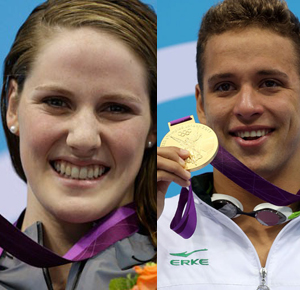 Missy Franklin and Chad Le Clos