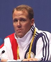 USA Womens Water Polo Coach - Guy Baker at an Olympic Interview.
