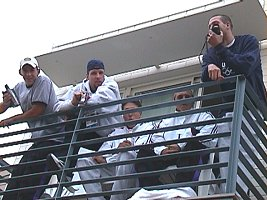 US guys hanging on the balcony at the Olympic Village.