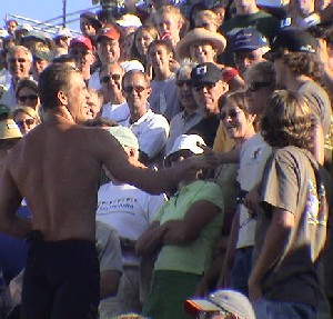 Gary Hall Jr. went into the crowd after his race to thank his family and friends.<br /> (Photo: M. Collins)