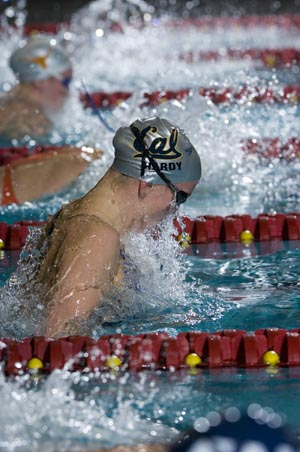 California's Jessica Hardy defends 100 breast title at NCAAs.