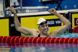 Katie Hoff celebrates new world record in 400 meter IM at 2008 Olympic trials.