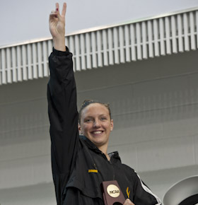 2011wncaa Katinka Hosszu wins the 200 butterfly at the 2011 NCAA championship.