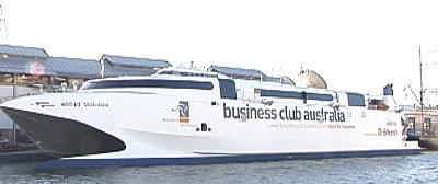 A huge catamaran hosting the Bussiness Club Australia meetings.