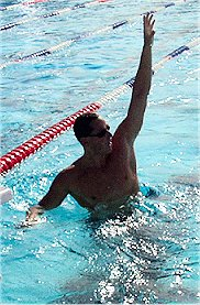 Jason Lezak celebrates after winning the 50 free at the 2002 LCM Nationals