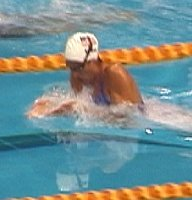 Kristy Kowel of USA swimming to the silver medal in the 200 Breast.