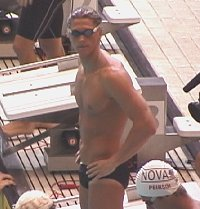 Lenny Krayzelburg checks out the competition before jumping in to swim his 100 Back