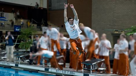 Ricky Berens celebrates the Texas team title at the 2010 NCAA championships