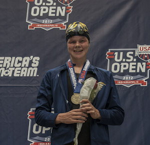 2012usopen Rebecca Mann wins the 1500 freestyle at the 2012 US Open in Indianapolis.