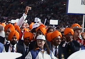 Orange Turbin on the Indian athletes.