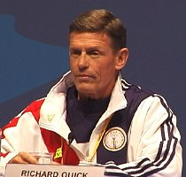 Coach Richard Quick at the USA Swimming Olympic Press Conference.