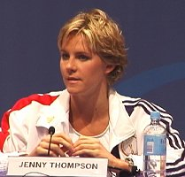 Jenny Thompson at the USA Swimming Olympic Press Conference.