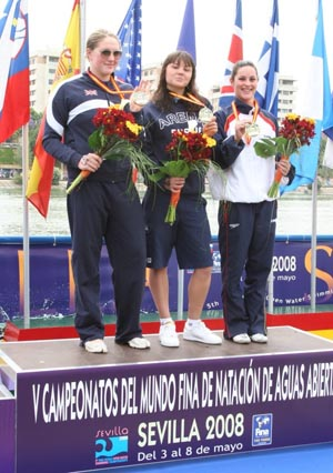 Larisa Ilchenko (Russia) (center), Cassandra Patten (Great Britain) (left),Yurema Requena (Spain) (right).