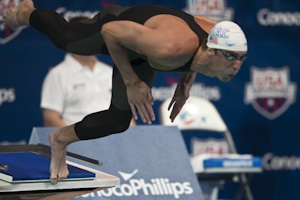 Michael Phelps places first in the 200 Free Prelims at the 2009 USA Swimming Nationals/World team trials.