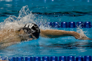 Michael Phelps sets the pace in the 200 meter freestyle at the Olympic TriaLS