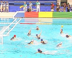 Action during the gold medal game between USA and Australia. Australia won 4-3 in the final two seconds.