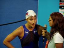Martina Moravcova intiviewed after winning silver medal in 200 free at World Champs in Barcelona