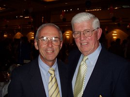 Caption: Newly-elected USA Swimming President Ron van Pool (left) with legendary Coach Peter Daland. 2002