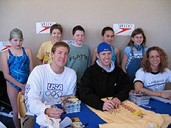 Rachel Komisarz - Signing Autographs with Neil Walker and Nate Dusing at Schroeder YMCA Meet