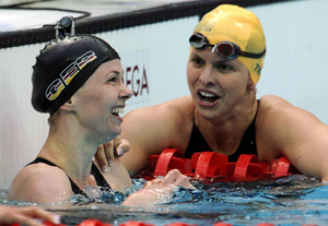 Britta Steffen and Libby Trickett after the final of the 100 free at the Beijing Olympics