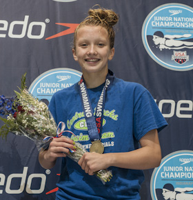 2012juniors Allie Szekely wins the 400 IM at the 2012 USA swimming junior nationals in Indianapolis.