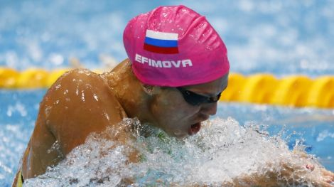 Iuliia Efimova (RUS) competes in the women's 100m breaststroke finals during the London 2012 Olympic Games at Aquatics Centre