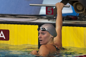 Dana Vollmer places first in the 200 Free Prelims at the 2009 USA Swimming Nationals/World team trials.