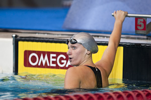Dana Vollmer places first in the prelims of the 100 freestyle at the 2009 USA Swimming Nationals/World Team Trials.