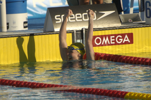 Giaan Rooney wins 50 backstroke at 2005 worlds.