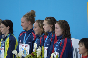 USA team sings anthem at medal ceremony
