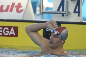 Brendan hansens sets new wr in 200 breastroke at 2005 worlds.