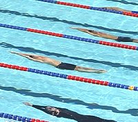 Neil Walker gets out to nearly a body length lead in the early going of the 100 Back.